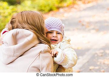 outono, estacione filha, mãe