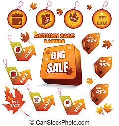 outono, etiquetas, venda