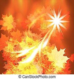 outono, experiência., folhas, desenho