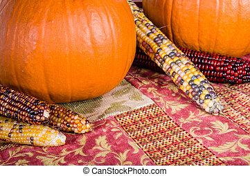 outono, exposição, de, laranja, abóboras, e, milho