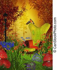 outono, fantasia, floresta, dia