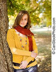 outono, fasion., harmonia, coloridos