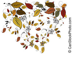 outono, floral, folhas, fundo