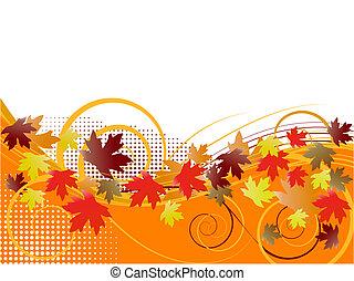 outono, floral, fundo