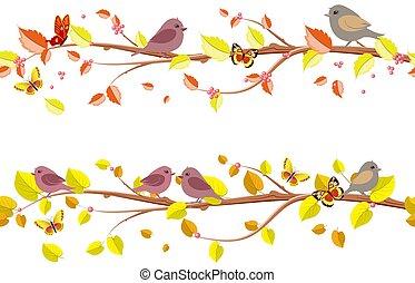 outono, floral, jogo, seamless, fronteiras, com, cute, pássaros, para, seu, desi