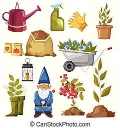 outono, flores, jogo, ferramentas, jardinagem