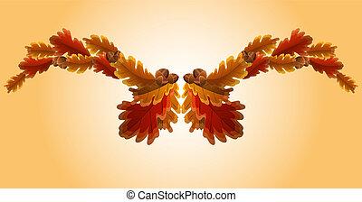 outono, folha carvalho, bolota, guirlanda