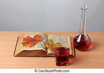 outono, folha livro, seis