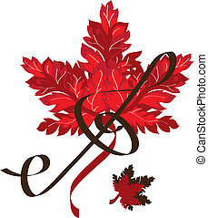 outono, folha, vermelho, música
