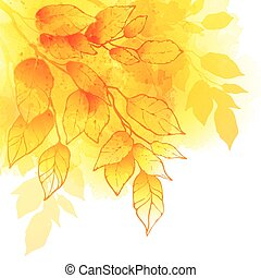 outono, folheia, aquarela, vetorial, fundo