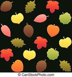 outono, folheia, padrão, fundo, verde