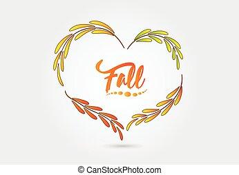 outono, forma coração, vetorial