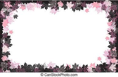 outono, frame:, maple, leaf., lugar, para, seu, texto, here.