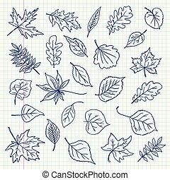 outono, freehand, folhas, desenho, item