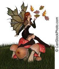outono, frondoso, fada, toadstool, asas