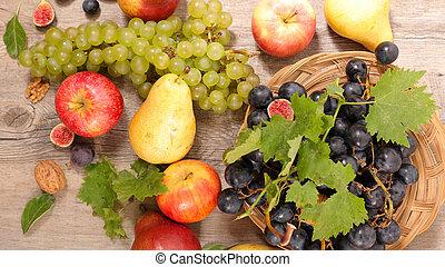 outono, fruta, fundo