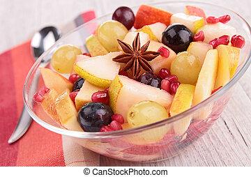 Outono, fruta, salada
