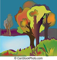 outono, fundo, árvores, lago, ilustração