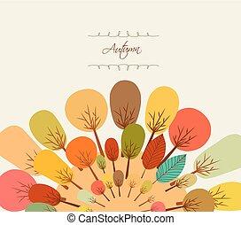 outono, fundo, árvores