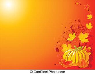 outono, fundo, abóbora