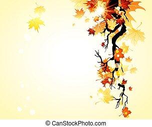 outono, fundo amarelo