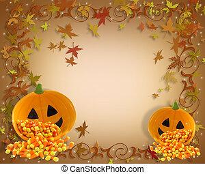 outono, fundo, borda