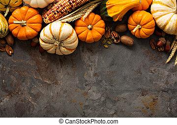 outono, fundo, com, abóboras