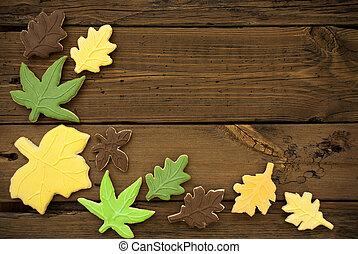 outono, fundo, com, biscoitos