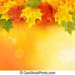 outono, fundo, com, folhas