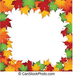 outono, fundo, folhas