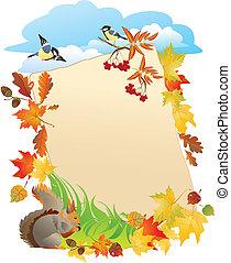 Outono, fundo, folheia