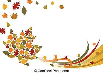 outono, fundo, ilustração, outono
