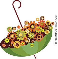 outono, guarda-chuva verde, cheio, de, flowers., vetorial,...