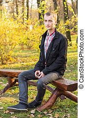 outono, homem, parque, jovem, bonito
