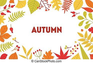 outono, horizontais, fundo, com, quadro, feito, de, árvore caída, folhas, e, bagas, branco, experiência., sazonal, fundo, com, foliage, border., apartamento, vetorial, ilustração, para, anúncio, promotion.