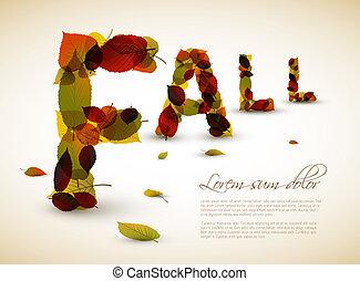 outono, ilustração, vetorial, lettering