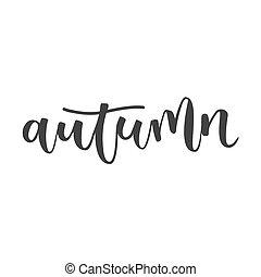 outono, inscrição, escrito, mão