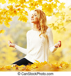 outono, ioga, mulher, parque
