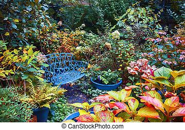outono, jardim