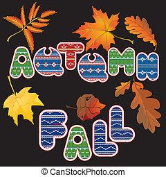 outono, jogo, elementos