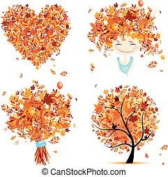 outono, jogo, para, seu, design:, menina, buquet, árvore, coração