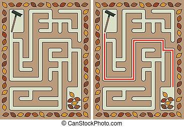 outono, labirinto, fácil