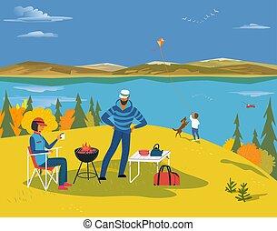outono, lago, paisagem