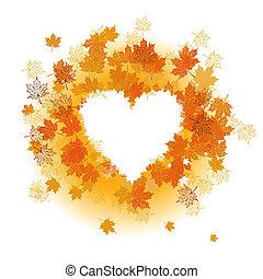 outono, leaf:, coração, forma., lugar, para, seu, texto, here.