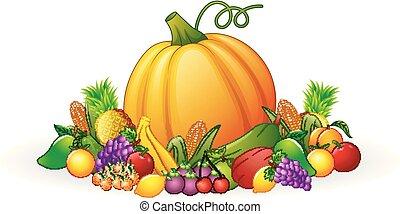 outono, legumes, colheita, frutas