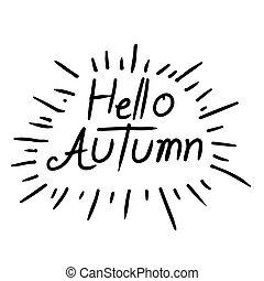 outono, lettering, escrito, olá, mão