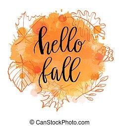 outono, lettering, frase, ligado, aquarela, imitação, fundo,...