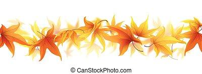 outono, linha, folhas