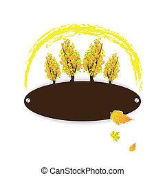 outono, logotipo, coloridos, árvores