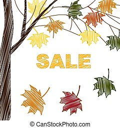 outono, luminoso, venda, fundo, sinal